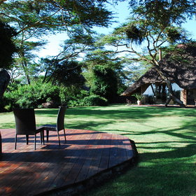Solio is set in lovely gardens, with lawns in front looking out towards Mount Kenya.