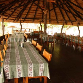 There is a large dinning area for guests