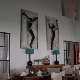 The restaurant is well decorated with African artwork...