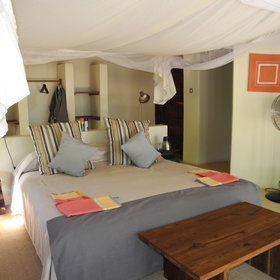 Each chalet has either a double or twin-beds, and all are fitted with mosquito nets...