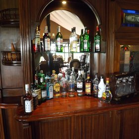 In addition to a selection of board games, the lounge also has a well stocked bar.