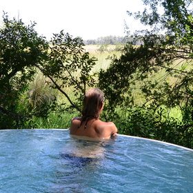 a plunge pool on the lower level for cooling off and taking in the view.
