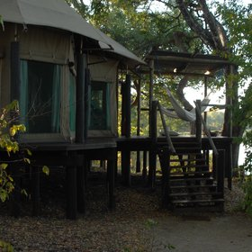 Each room has a private deck with a couple of hammocks...