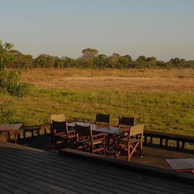 Meals can also be served on a raised wooden deck looking over the plains.