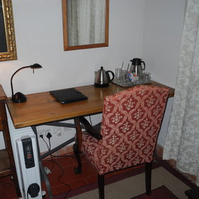 ...and a writing desk with tea and coffee station