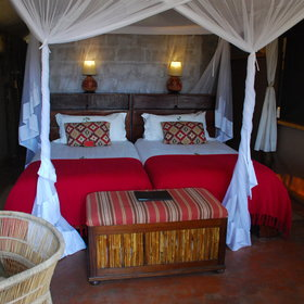 The comfortable rooms are simply decorated using natural materials...