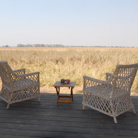Each chalet has a private veranda with a wonderful view over the surrounding plains…