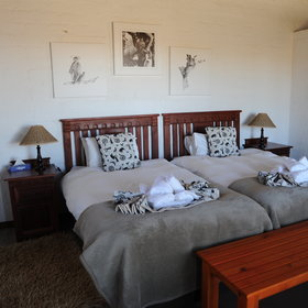 ...and twin rooms decorated with simple paintings.