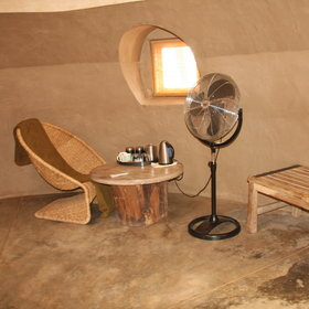 ...with a simple selection of furniture, a fan and tea/coffee making facilities.