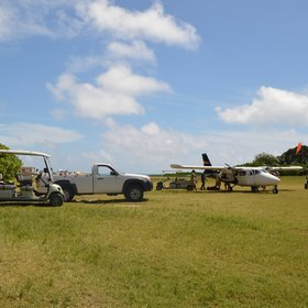 On arrival, guests are met by golf buggies for the short transfer from the airstrip to the lodge.