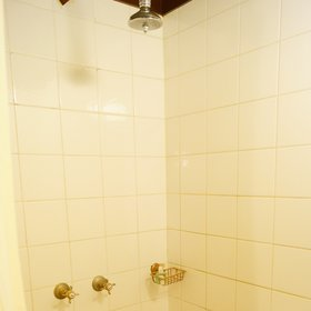 The newer bathrooms have a spacious tiled shower.