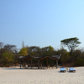 Nkwichi Lodge is set on fine white sand.