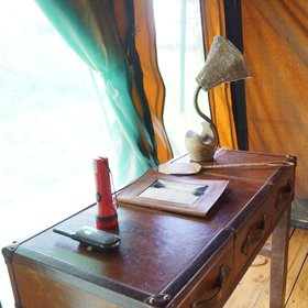 …and a writing desk made from an old suitcase.