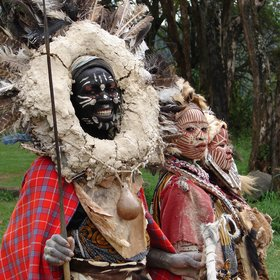 Kikuyu performers are often on hand for photo opportunities at the lodge.