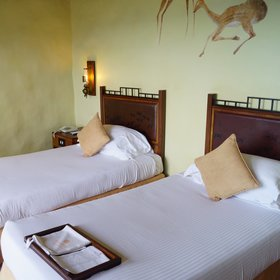 Each room has twin or double beds…