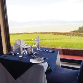 The dining area offers wonderful views - on a clear day!