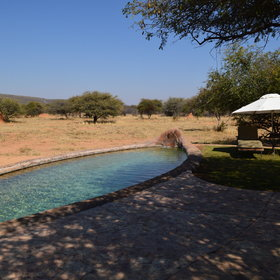 Outside is a plunge pool shaped like a mokoro (dug-out canoe), which looks out over the bush.