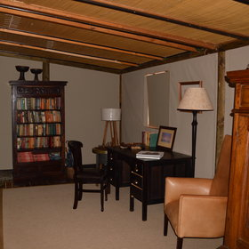 ... and a small library with a good selection of books, and a writing desk.