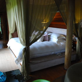 The bedroom is furnished with a plush four-poster bed draped in a mosquito net…