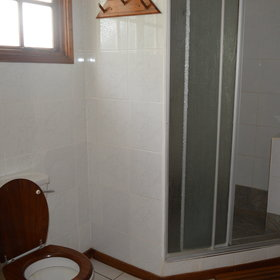 …a flushing toilet and a good sized shower.