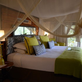 The eight tented rooms are well spaced and have a lovely furniture…