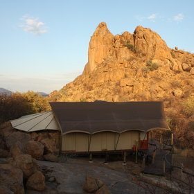 The tented chalets are dotted amongst rocky boulders.