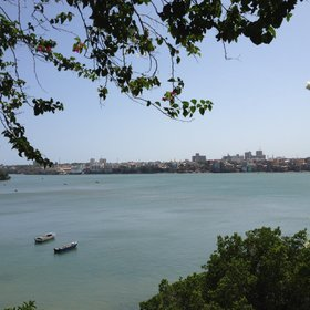 …and has stunning views of Mombasa Island from its terrace.