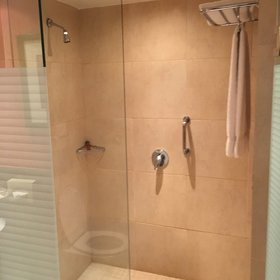 …and the shower and loo combos are clean and functional.