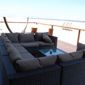 ...a lounge, a deck area, …