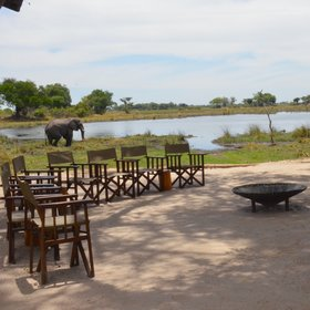 The central area has open views over a lagoon, and an inviting firepit around which to gather.