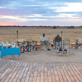 Nxai Pan overlooks an active waterhole in front of camp...