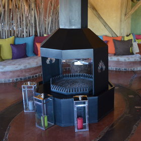 The large and comfortable lodge has a huge central fireplace for those cold evenings...