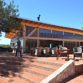 The recently refurbished Kalahari Anib Lodge is one of the larger lodges...