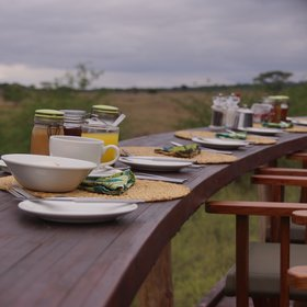Breakfast is often served down at the viewing deck, overlooking the river valley.