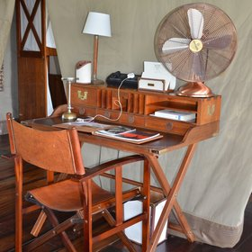 ...a lovely wooden writing desk,...