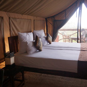 Inside each tent you find a wooden double bed…