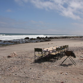 Lunch is on a deserted, wind-swept beach ...