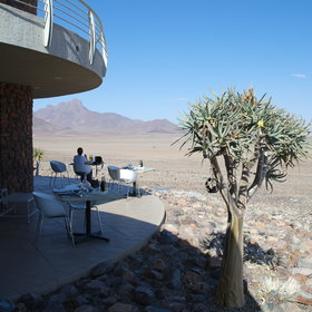 The dining areas look out over the desert...