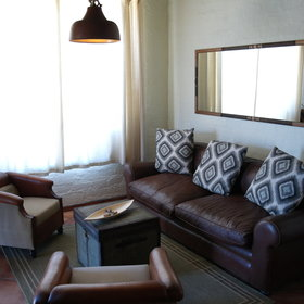The family chalet also comes with a lounge area...