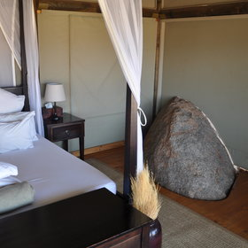 Some of the boulders have even made their way into the tent!