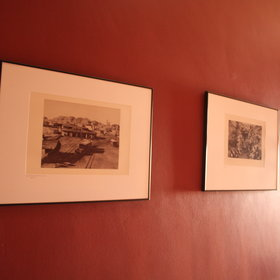 In the passageway are some black and white prints of Namibia on the walls.