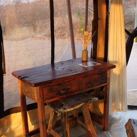 ...with rustic wooden furniture...