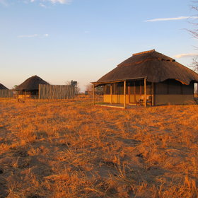 Canvas and thatch chalets overlook the camp waterhole for relaxed game watching...