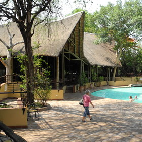 It's overlooking the wide Chobe River.