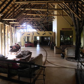Inside the large thatched building there is the activities booking office…