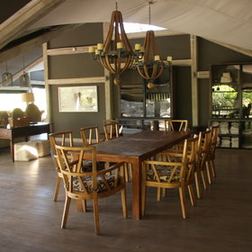 The dining room has a large communal table, that can be transformed into individual tables.