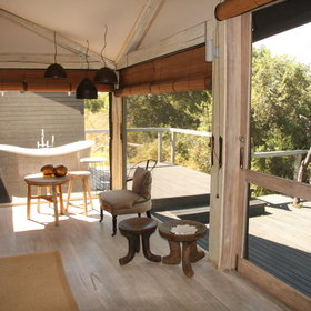 The intimate Abu Camp offers just six tented suites which all face out onto the lagoon.