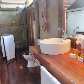 Each tented chalet has an en-suite bathroom with shower and flushing toilet ...