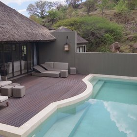 Each Villa has a sparkling blue, private plunge pool on an outside deck.
