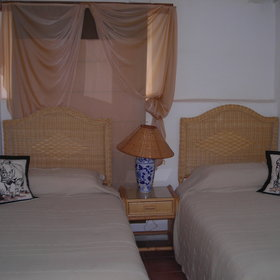 ...cozy double beds or twin beds...